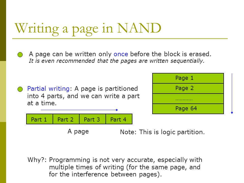 Writing a page in NAND Why?: Programming is not very accurate, especially with multiple times of writing (for the same page, and for the interference