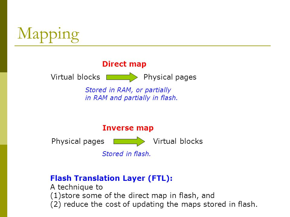 Mapping Virtual blocks Physical pages Direct map Stored in RAM, or partially in RAM and partially in flash. Physical pages Virtual blocks Inverse map