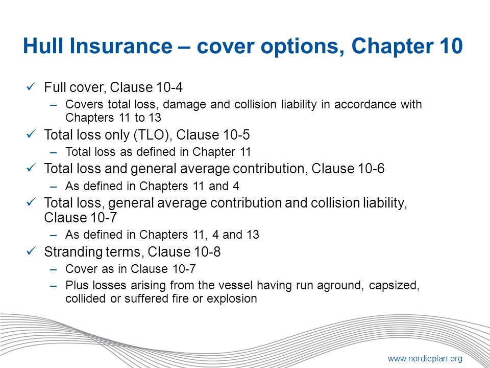 www.nordicplan.org Hull Insurance – cover options, Chapter 10 Full cover, Clause 10-4 –Covers total loss, damage and collision liability in accordance