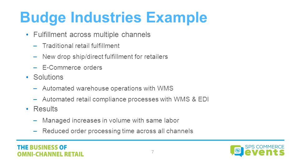 Budge Industries Example Fulfillment across multiple channels –Traditional retail fulfillment –New drop ship/direct fulfillment for retailers –E-Commerce orders Solutions –Automated warehouse operations with WMS –Automated retail compliance processes with WMS & EDI Results –Managed increases in volume with same labor –Reduced order processing time across all channels 7