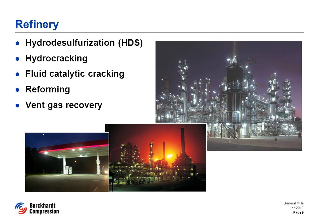 Refinery Hydrodesulfurization (HDS) Hydrocracking Fluid catalytic cracking Reforming Vent gas recovery June 2012 General MHe Page 9