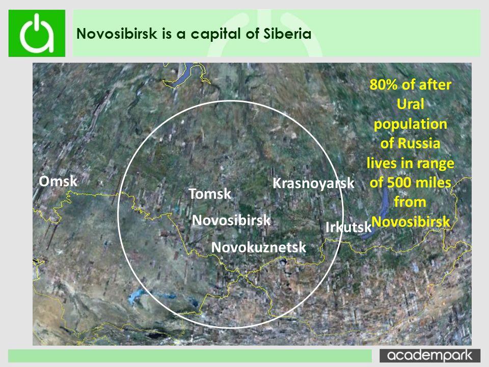 Novosibirsk is a capital of Siberia Novosibirsk Tomsk Krasnoyarsk Irkutsk Omsk 80% of after Ural population of Russia lives in range of 500 miles from