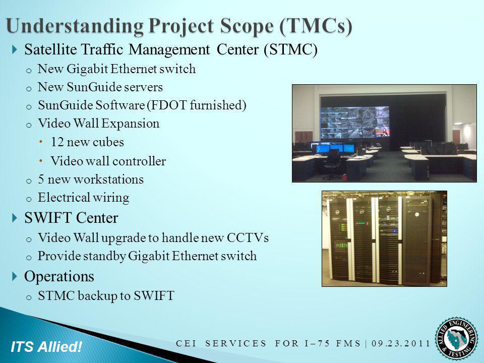 C E I S E R V I C E S F O R I – 7 5 F M S   0 9.2 3. 2 0 1 1 ITS Allied! Satellite Traffic Management Center (STMC) o New Gigabit Ethernet switch o Ne