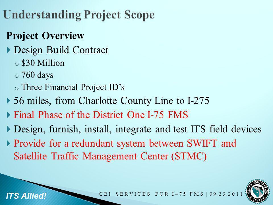 C E I S E R V I C E S F O R I – 7 5 F M S   0 9.2 3. 2 0 1 1 ITS Allied! Project Overview Design Build Contract o $30 Million o 760 days o Three Finan