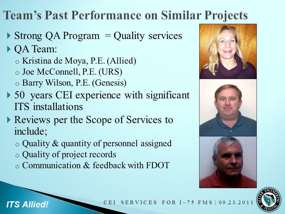 C E I S E R V I C E S F O R I – 7 5 F M S   0 9.2 3. 2 0 1 1 ITS Allied! Strong QA Program = Quality services QA Team: o Kristina de Moya, P.E. (Allie