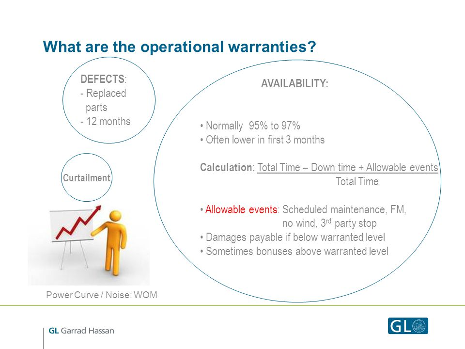 What are the operational warranties? DEFECTS : - Replaced parts - 12 months AVAILABILITY: Normally 95% to 97% Often lower in first 3 months Calculatio