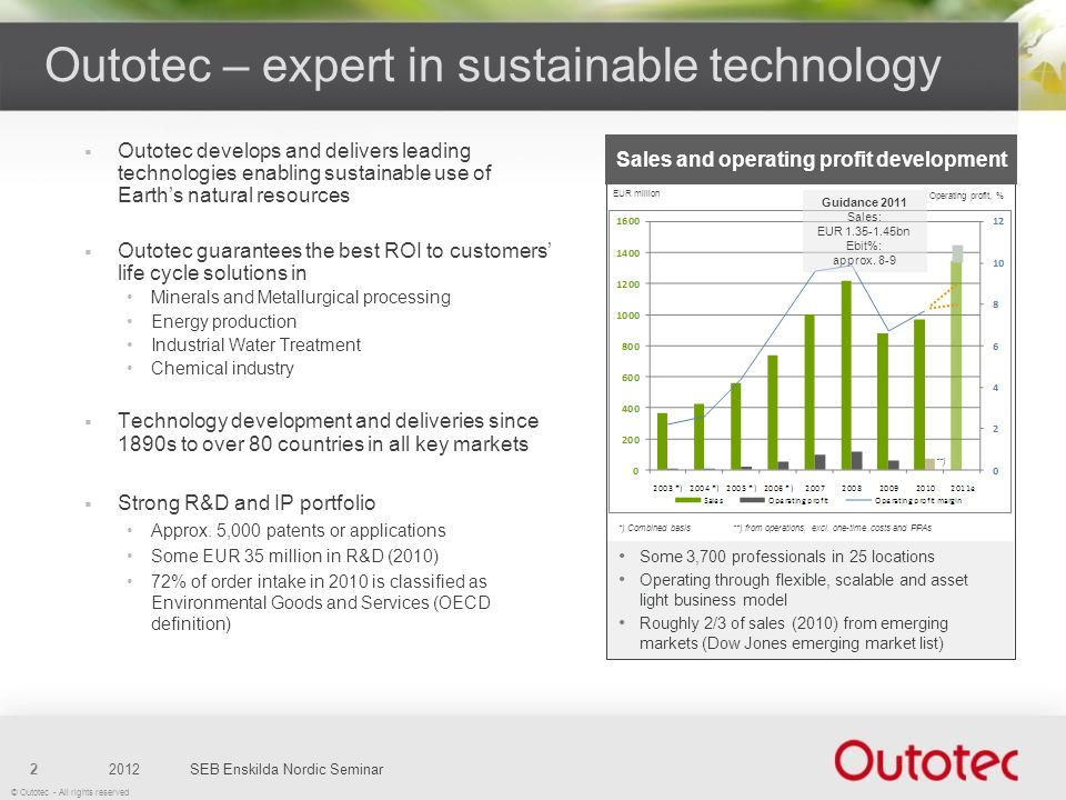 © Outotec - All rights reserved Outotec develops and delivers leading technologies enabling sustainable use of Earths natural resources Outotec guaran