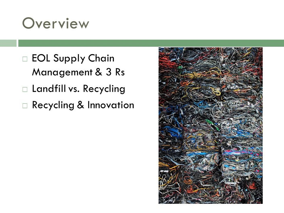 Overview EOL Supply Chain Management & 3 Rs Landfill vs. Recycling Recycling & Innovation