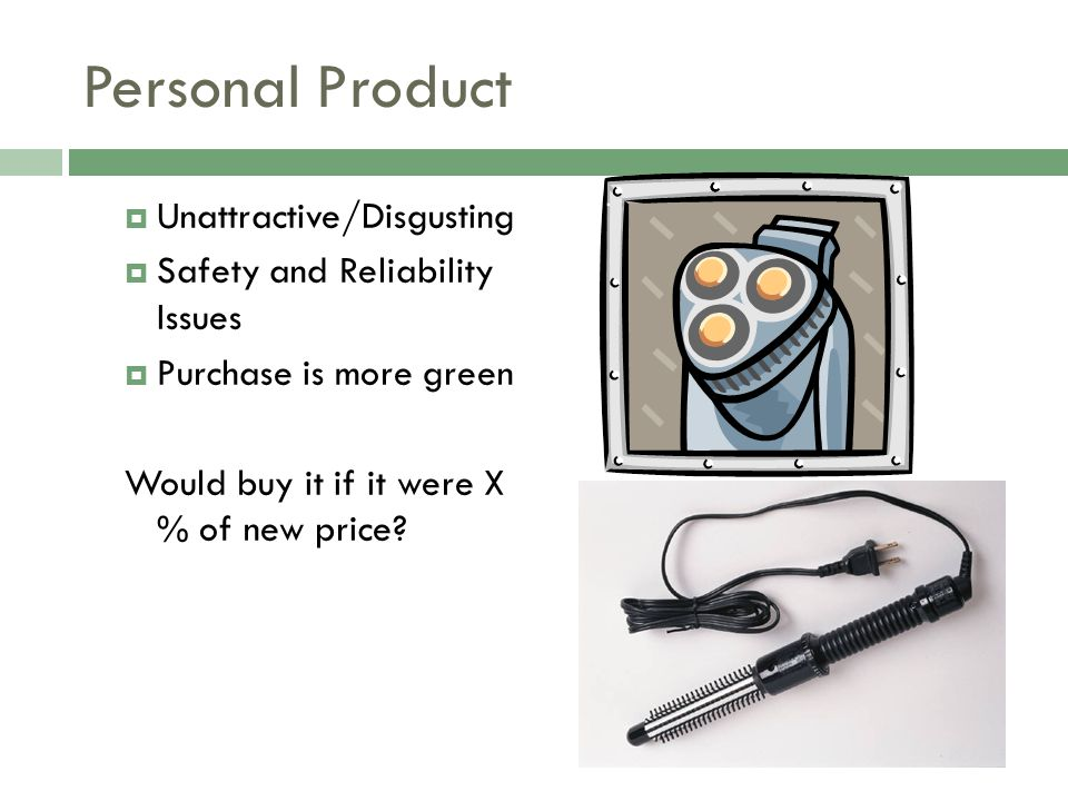 Personal Product Unattractive/Disgusting Safety and Reliability Issues Purchase is more green Would buy it if it were X % of new price?