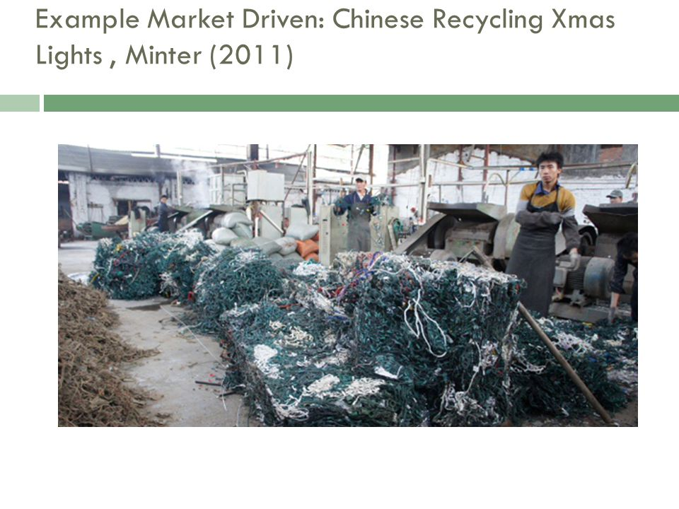 Example Market Driven: Chinese Recycling Xmas Lights, Minter (2011)