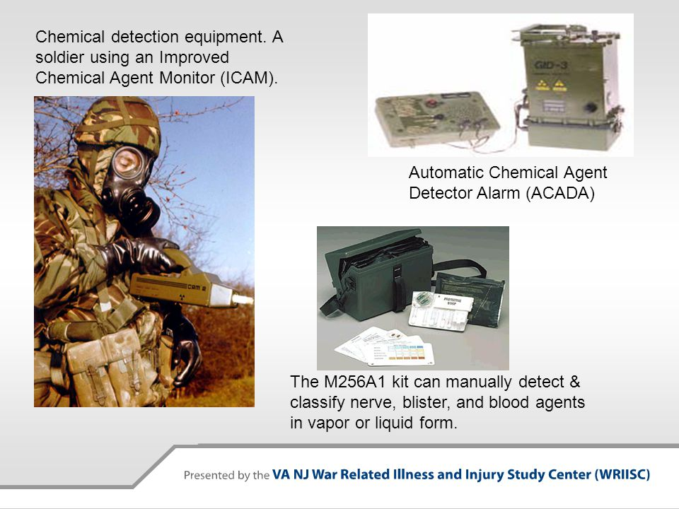 The M256A1 kit can manually detect & classify nerve, blister, and blood agents in vapor or liquid form. Chemical detection equipment. A soldier using