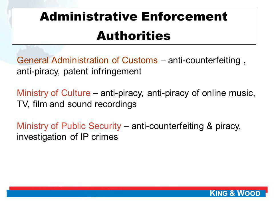K ING & W OOD Administrative Enforcement Authorities General Administration of Customs – anti-counterfeiting, anti-piracy, patent infringement Ministr