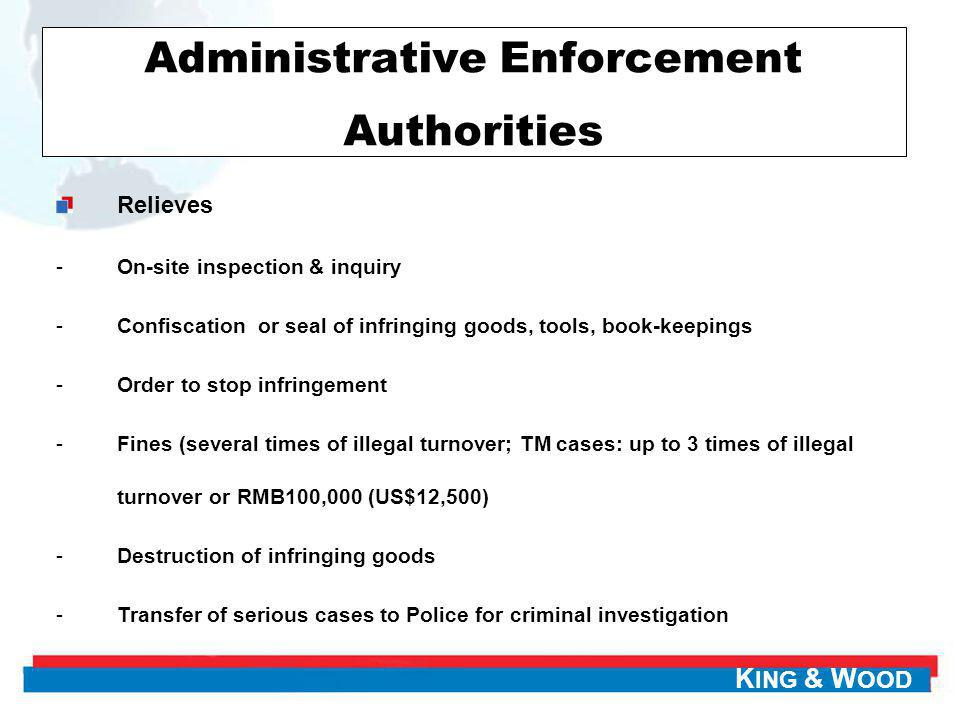 K ING & W OOD Administrative Enforcement Authorities Relieves -On-site inspection & inquiry -Confiscation or seal of infringing goods, tools, book-kee