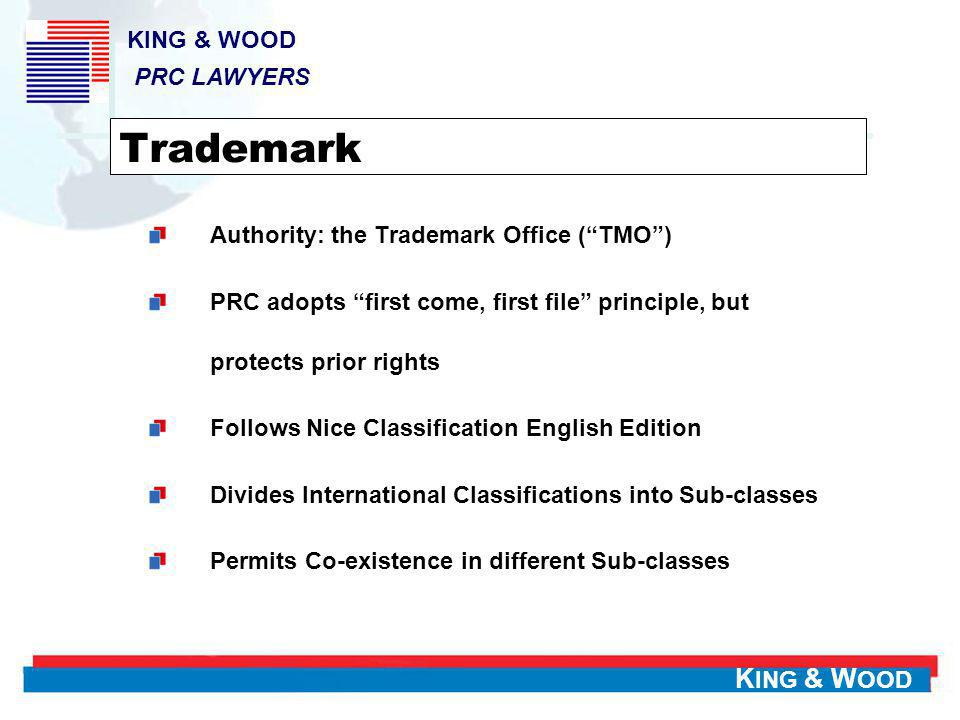 K ING & W OOD 2005 Court Cases – Criminal Criminal liabilities pursued in 505 cases and to 741 persons 3567 new cases Certain difficulties in establishing criminal cases Transfer of administrative IP cases to PSB (Police) KING & WOOD PRC LAWYERS