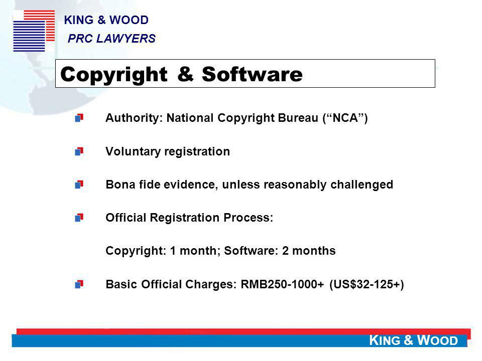 K ING & W OOD Patent Patent for Invention (Patent) Utility Model Design Subject Matter Any new technical solution relating to a product, a process, or improvement thereof Any new technical solution relating shape, structure or combination of a product New design of shape, pattern or their combination, or combination of color, shape or pattern of a product Patent Term 20 years10 years Examination Substantial Review Formality Review Formality Review