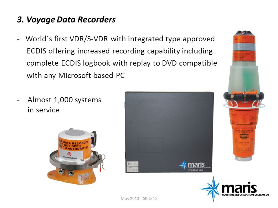 3. Voyage Data Recorders - World´s first VDR/S-VDR with integrated type approved ECDIS offering increased recording capability including cpmplete ECDI