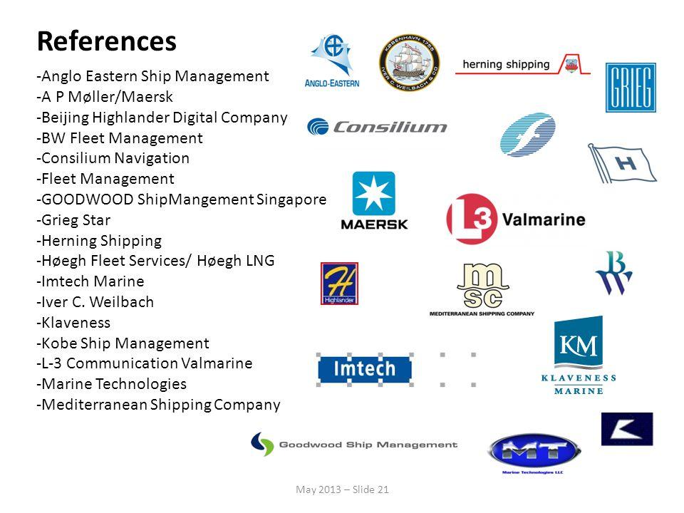 References -Anglo Eastern Ship Management -A P Møller/Maersk -Beijing Highlander Digital Company -BW Fleet Management -Consilium Navigation -Fleet Man