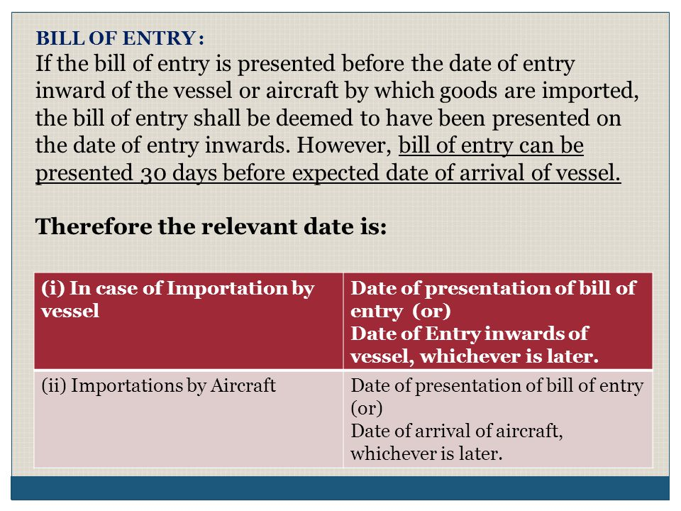 BILL OF ENTRY : If the bill of entry is presented before the date of entry inward of the vessel or aircraft by which goods are imported, the bill of e