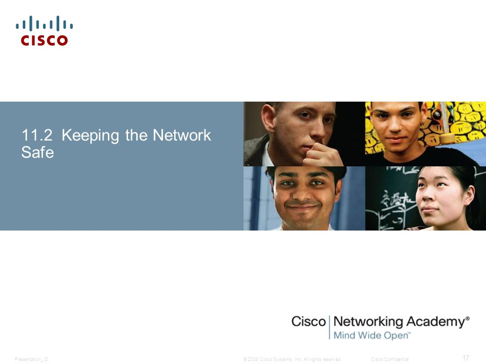© 2008 Cisco Systems, Inc. All rights reserved.Cisco ConfidentialPresentation_ID 17 11.2 Keeping the Network Safe