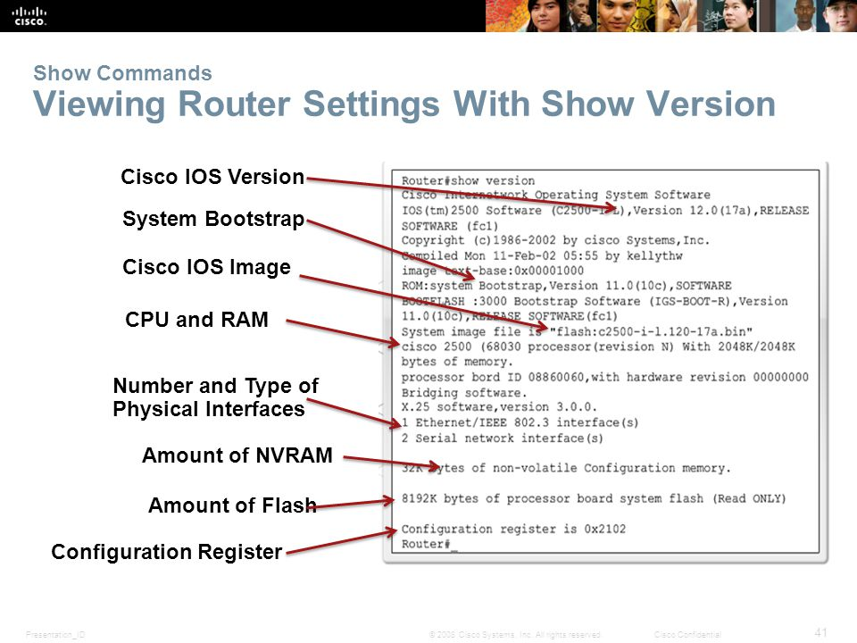 Presentation_ID 41 © 2008 Cisco Systems, Inc. All rights reserved.Cisco Confidential Show Commands Viewing Router Settings With Show Version Cisco IOS