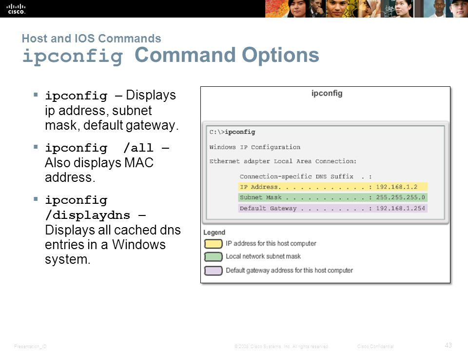 Presentation_ID 43 © 2008 Cisco Systems, Inc. All rights reserved.Cisco Confidential Host and IOS Commands ipconfig Command Options ipconfig – Display