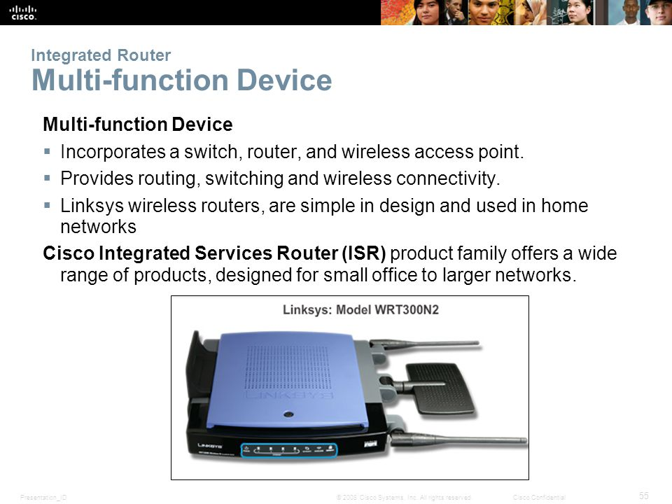 Presentation_ID 55 © 2008 Cisco Systems, Inc. All rights reserved.Cisco Confidential Integrated Router Multi-function Device Multi-function Device Inc