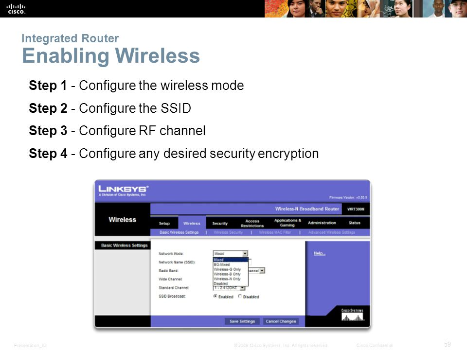Presentation_ID 59 © 2008 Cisco Systems, Inc. All rights reserved.Cisco Confidential Integrated Router Enabling Wireless Step 1 - Configure the wirele