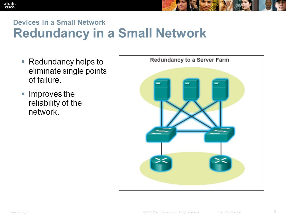 Presentation_ID 9 © 2008 Cisco Systems, Inc. All rights reserved.Cisco Confidential Devices in a Small Network Redundancy in a Small Network Redundanc