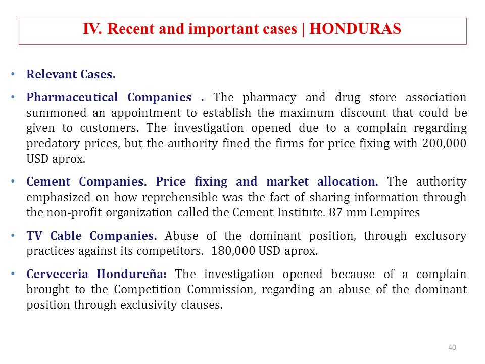 Relevant Cases. Pharmaceutical Companies. The pharmacy and drug store association summoned an appointment to establish the maximum discount that could