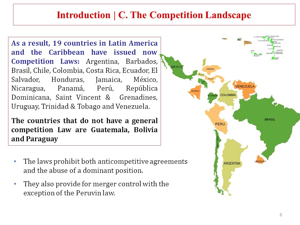 As a result, 19 countries in Latin America and the Caribbean have issued now Competition Laws: Argentina, Barbados, Brasil, Chile, Colombia, Costa Ric