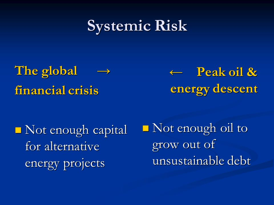 Systemic Risk The global The global financial crisis Not enough capital for alternative energy projects Not enough capital for alternative energy proj