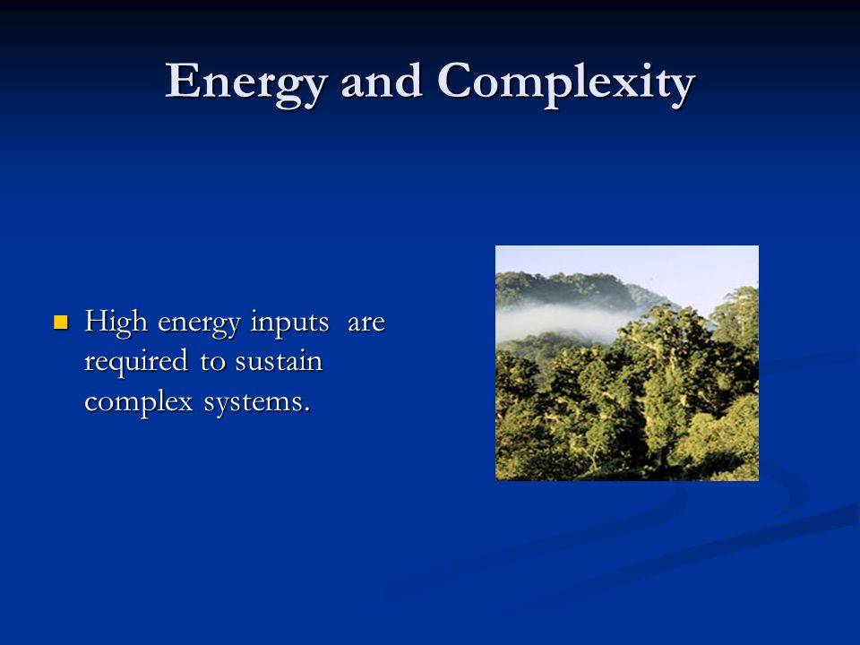 Energy and Complexity High energy inputs are required to sustain complex systems. High energy inputs are required to sustain complex systems.