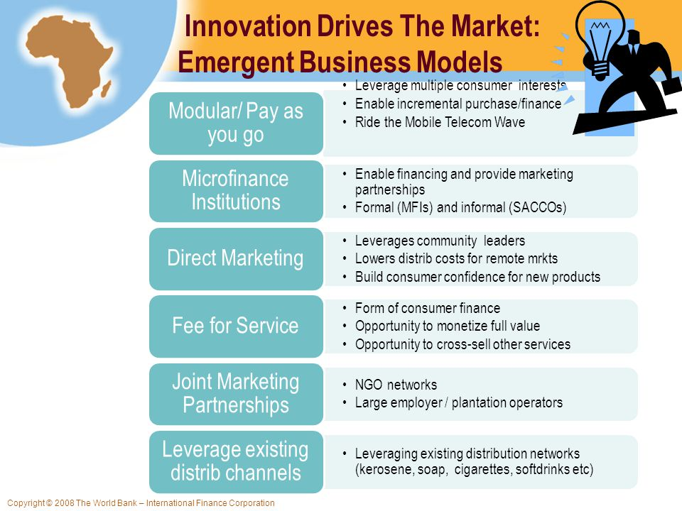 Copyright © 2008 The World Bank – International Finance Corporation Innovation Drives The Market: Emergent Business Models Leverage multiple consumer