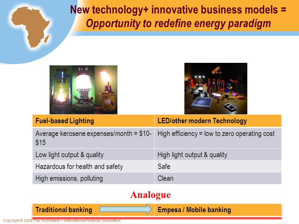 Copyright © 2008 The World Bank – International Finance Corporation New technology+ innovative business models = Opportunity to redefine energy paradigm Fuel-based LightingLED/other modern Technology Average kerosene expenses/month = $10- $15 High efficiency = low to zero operating cost Low light output & qualityHigh light output & quality Hazardous for health and safetySafe High emissions, pollutingClean Analogue