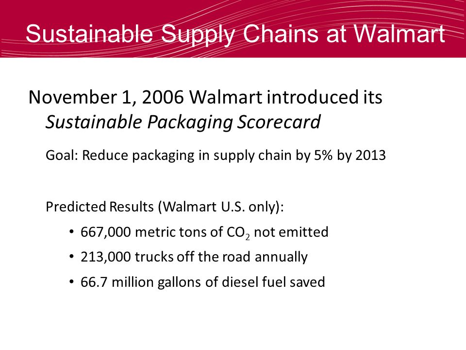 Sustainable Supply Chains at Walmart November 1, 2006 Walmart introduced its Sustainable Packaging Scorecard Goal: Reduce packaging in supply chain by