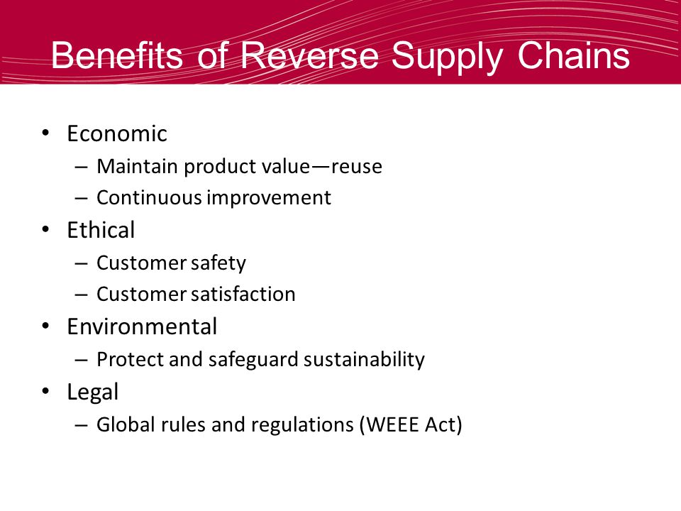 Benefits of Reverse Supply Chains Economic – Maintain product valuereuse – Continuous improvement Ethical – Customer safety – Customer satisfaction En