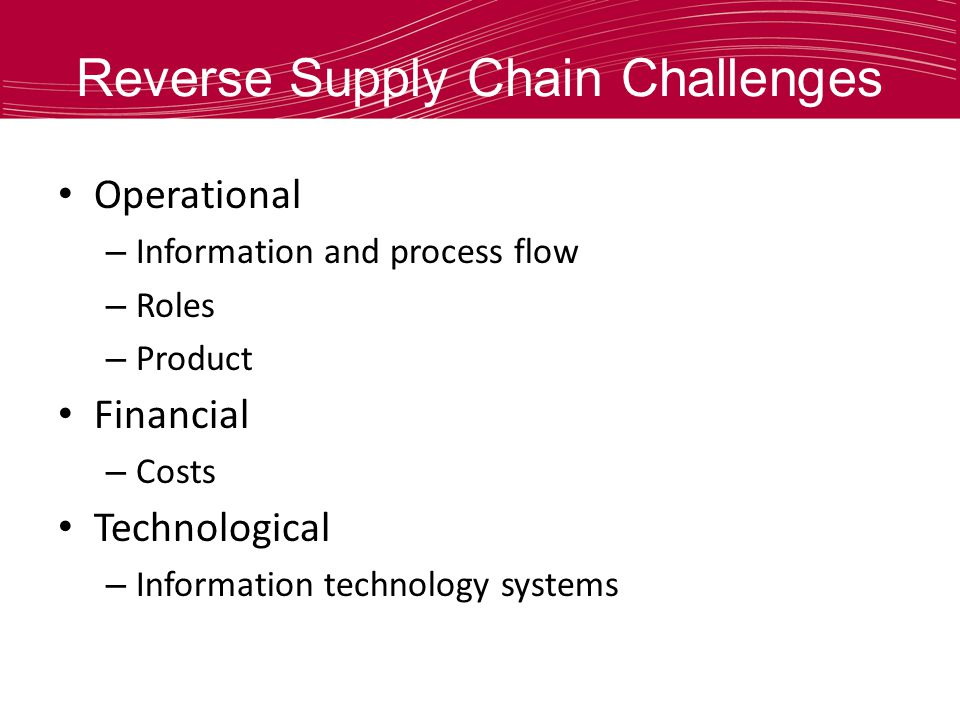 Reverse Supply Chain Challenges Operational – Information and process flow – Roles – Product Financial – Costs Technological – Information technology