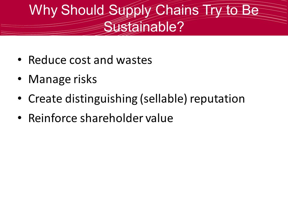 Why Should Supply Chains Try to Be Sustainable.