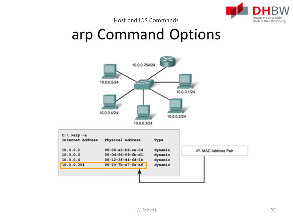 Host and IOS Commands arp Command Options W. Schulte39
