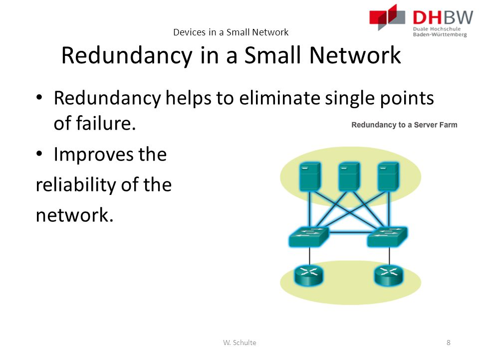 Devices in a Small Network Redundancy in a Small Network Redundancy helps to eliminate single points of failure. Improves the reliability of the netwo