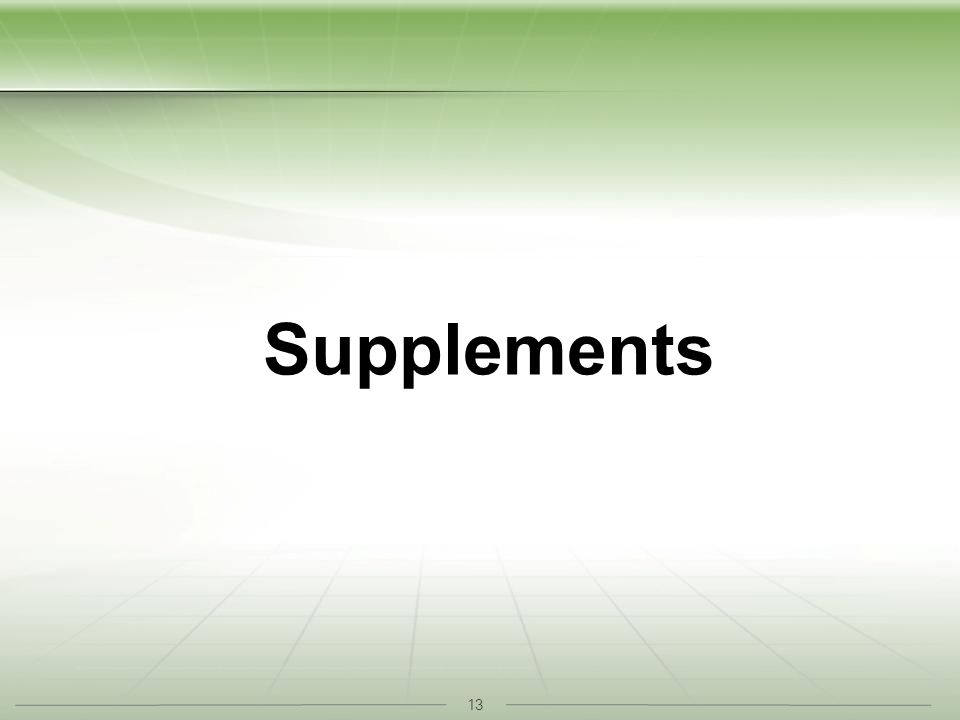 13 Supplements