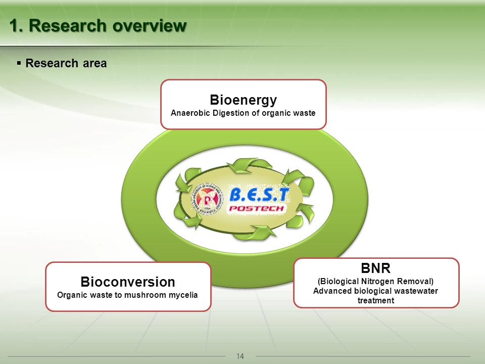 14 1. Research overview Research area Bioenergy Anaerobic Digestion of organic waste Bioconversion Organic waste to mushroom mycelia BNR (Biological N