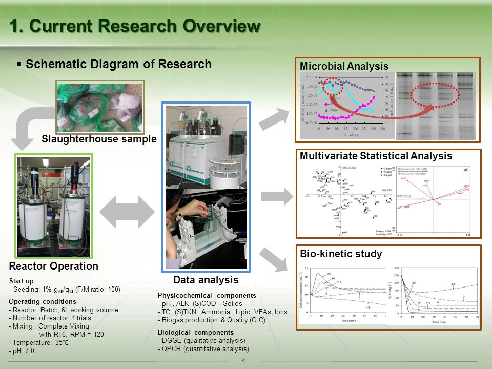 4 1. Current Research Overview Microbial Analysis Multivariate Statistical Analysis Bio-kinetic study Schematic Diagram of Research Reactor Operation