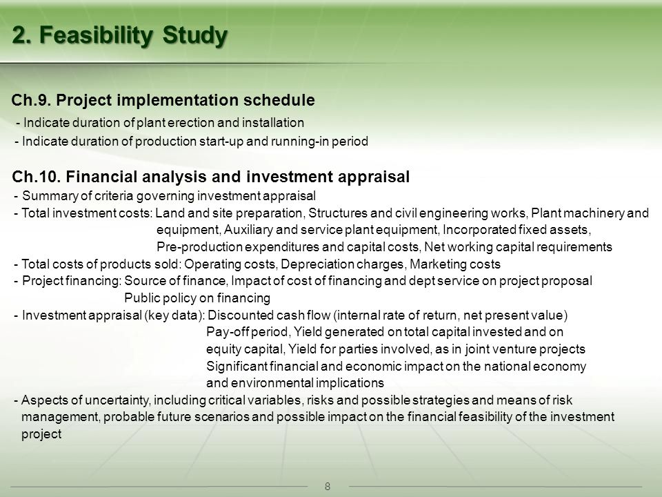 8 Ch.10. Financial analysis and investment appraisal - Summary of criteria governing investment appraisal - Total investment costs: Land and site prep