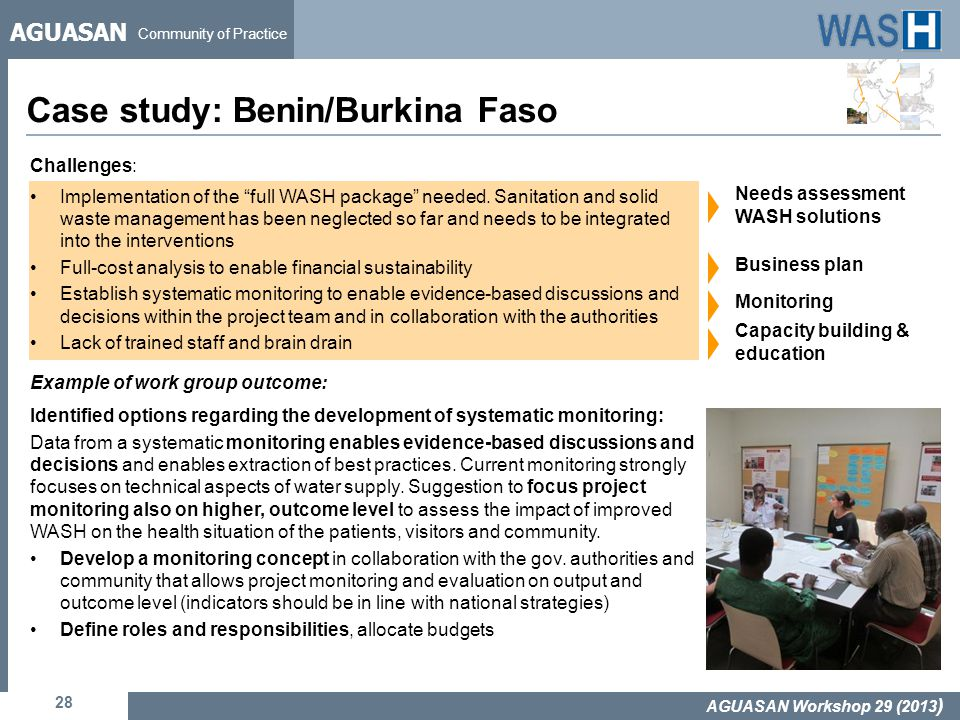 AGUASAN Community of Practice Case study: Benin/Burkina Faso 28 AGUASAN Workshop 29 (2013 ) Challenges: Implementation of the full WASH package needed.