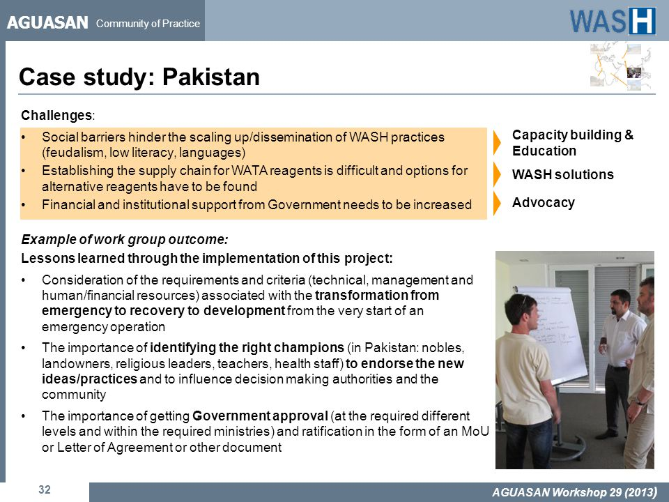 AGUASAN Community of Practice Case study: Pakistan 32 AGUASAN Workshop 29 (2013 ) Challenges: Social barriers hinder the scaling up/dissemination of W