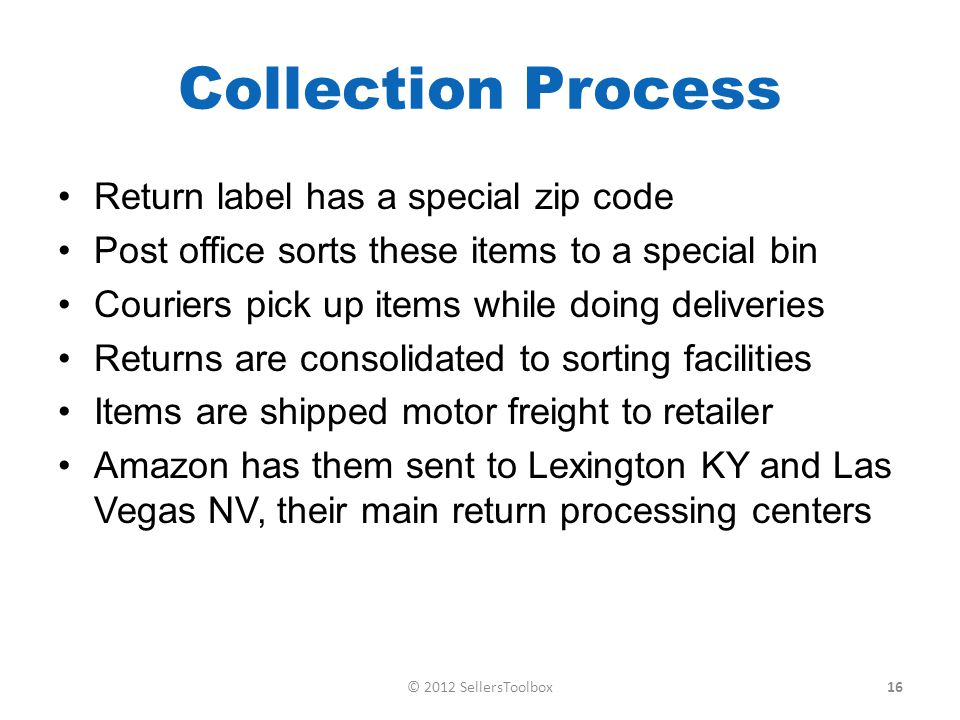 Collection Process Return label has a special zip code Post office sorts these items to a special bin Couriers pick up items while doing deliveries Returns are consolidated to sorting facilities Items are shipped motor freight to retailer Amazon has them sent to Lexington KY and Las Vegas NV, their main return processing centers 16© 2012 SellersToolbox
