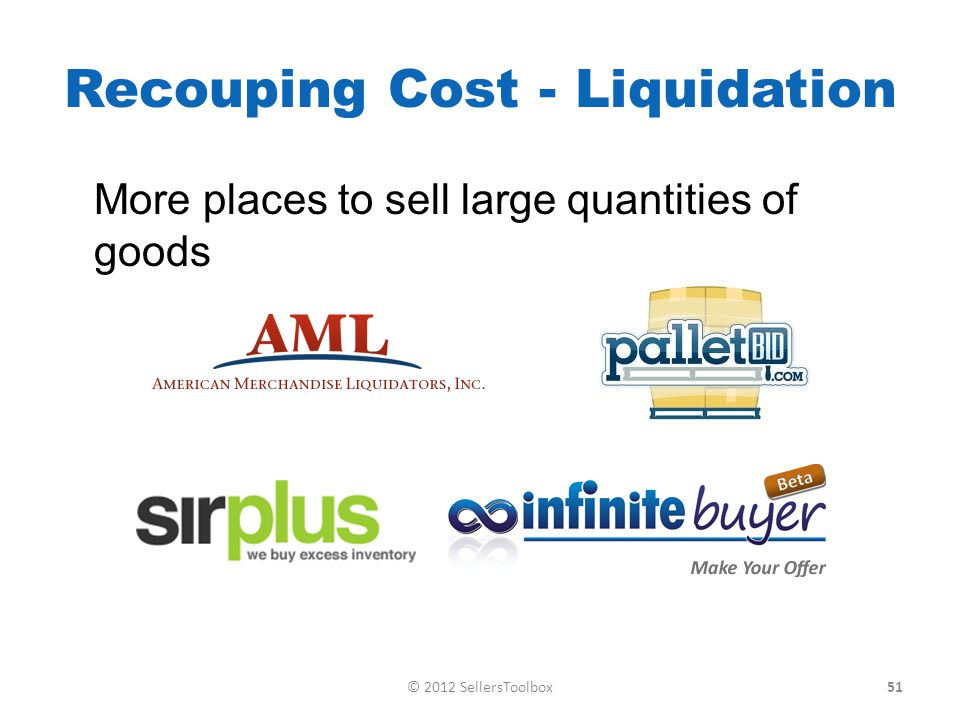 Recouping Cost - Liquidation More places to sell large quantities of goods 51© 2012 SellersToolbox