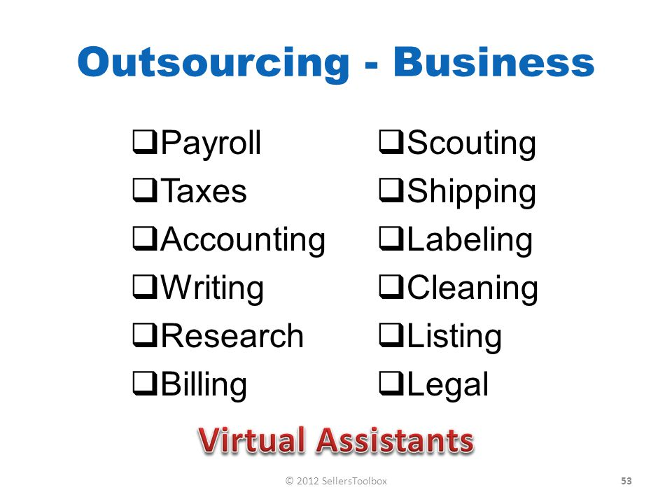 Outsourcing - Business Payroll Taxes Accounting Writing Research Billing Scouting Shipping Labeling Cleaning Listing Legal 53© 2012 SellersToolbox