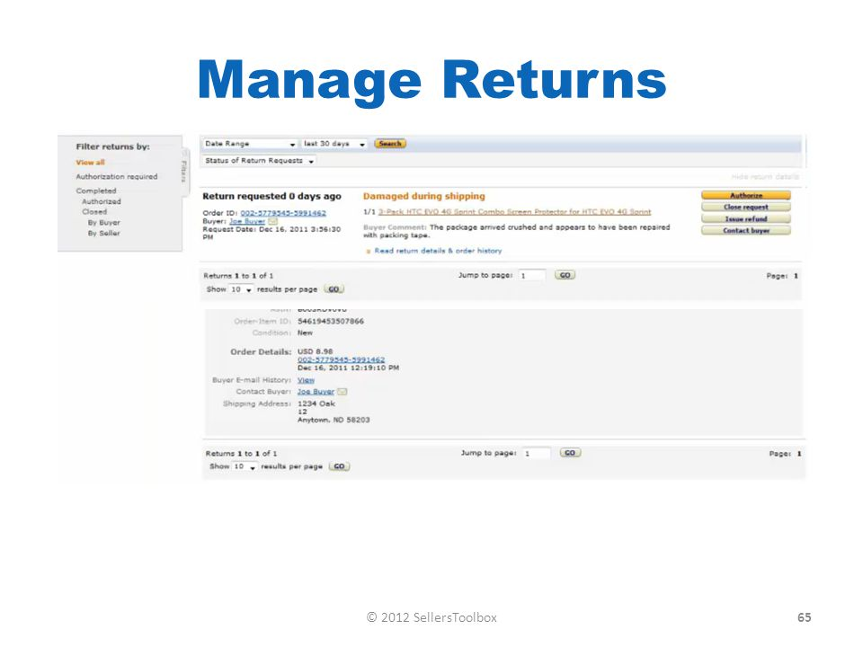Manage Returns 65© 2012 SellersToolbox